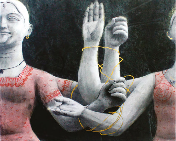 Reaction by Sangita Datta, Expressionism Painting, Mixed Media on Paper, Gray color