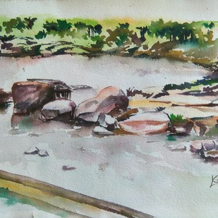 Hampi Series by Latha Kruti, Impressionism Painting, Watercolor on Paper, Gray color