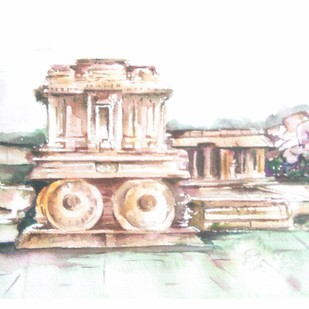 Hampi Series by Latha Kruti, Impressionism Painting, Watercolor on Paper, White color