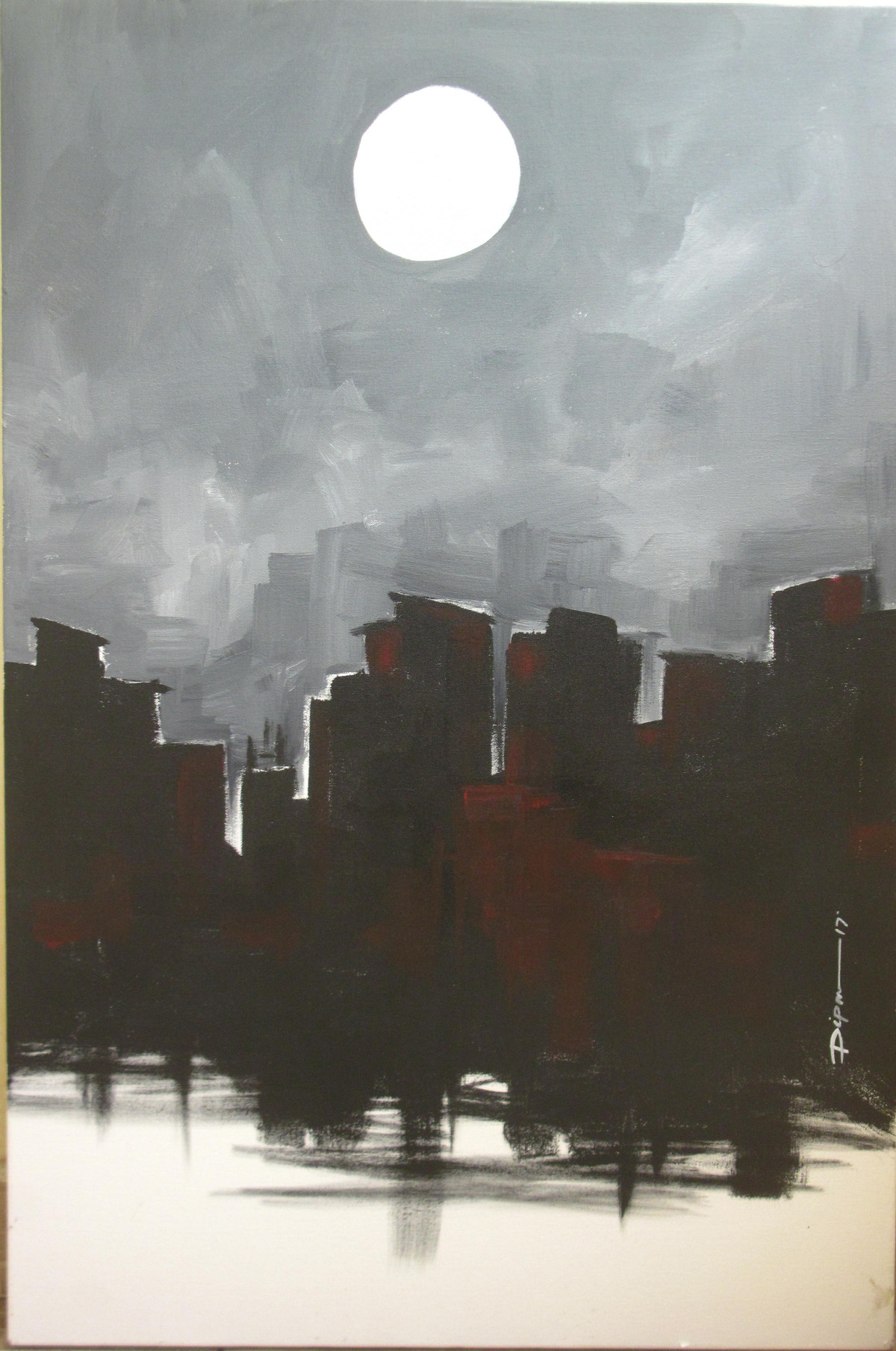 City and Moon by Dipanjan Bose, Impressionism Painting, Acrylic on Canvas, Gray color