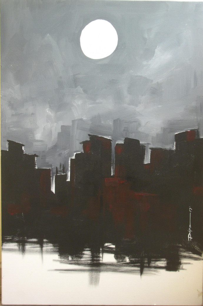 City And Moon By Artist Dipanjan Bose Impressionism