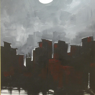 City and Moon Digital Print by Dipanjan Bose,Impressionism