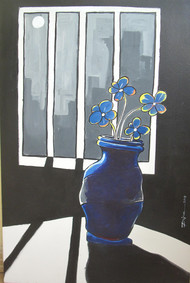 Vase and Moon by Dipanjan Bose, Expressionism Painting, Acrylic on Canvas, Gray color
