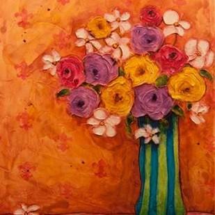 Bouquet in Striped Vase Digital Print by Quin, Marabeth,Expressionism