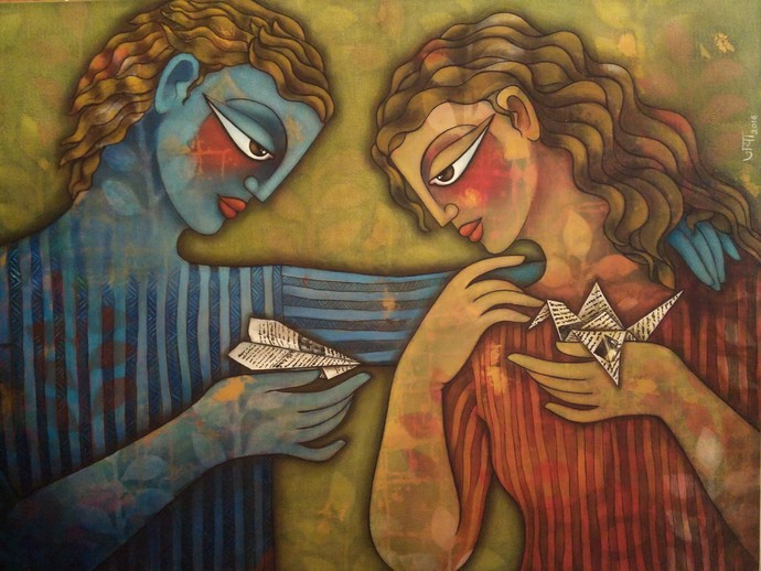 Sharing a dream by Jaya Srinivasan, Expressionism Painting, Acrylic on Canvas, Brown color