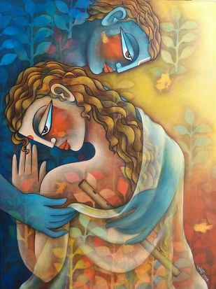 Kanupriya 2 by Jaya Srinivasan, Expressionism Painting, Acrylic on Canvas, Brown color