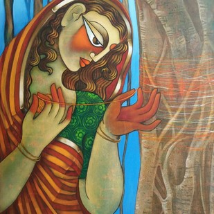 Savitri by Jaya Srinivasan, Expressionism Painting, Acrylic on Canvas, Brown color