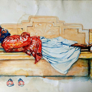 Relax by Sreenivasa Ram Makineedi, Expressionism Painting, Watercolor on Paper, Gray color