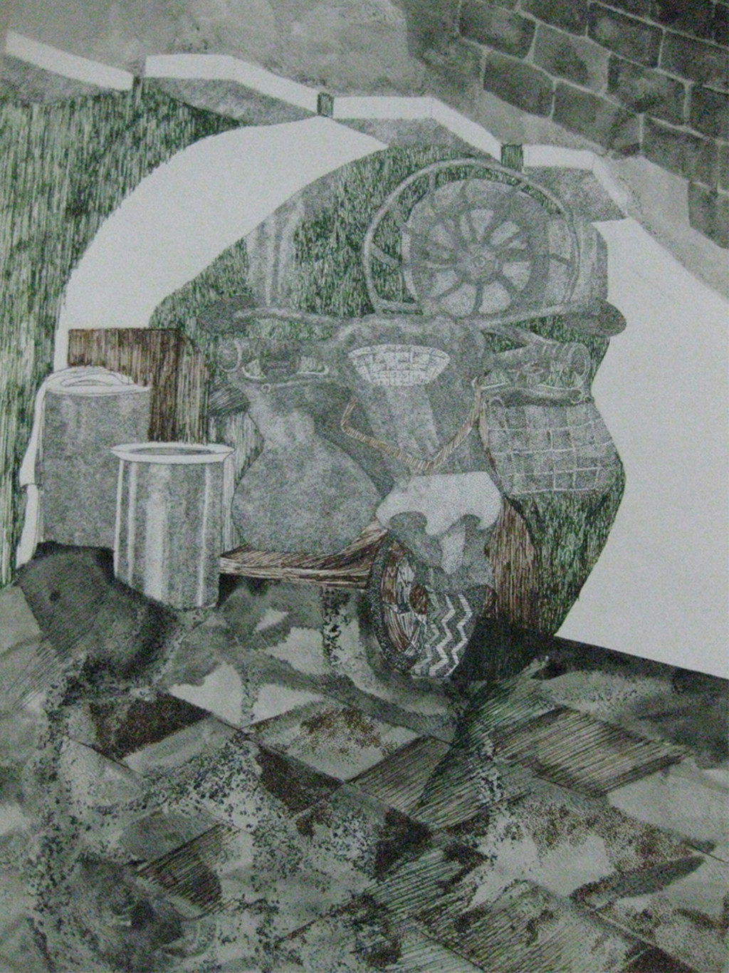 Memory by Mauli Buch Piyushbhai, Expressionism Drawing, Pen & Ink on Paper, Gray color