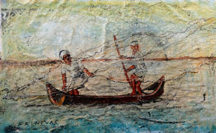 Fishing by Sreenivasa Ram Makineedi, Expressionism Painting, Mixed Media on Canvas, Beige color