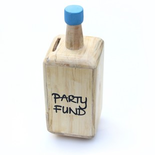 IVEI Wooden bottle shaped Party fund piggy bank - Blue Accessories By i-value-every-idea