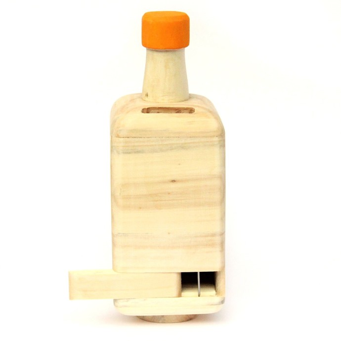 IVEI Wooden bottle shaped Party fund piggy bank - yellow Accessories By i-value-every-idea