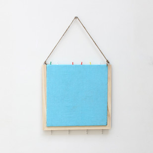 IVEI Wooden Pinboard with keyhooks - Blue Wall Decor By i-value-every-idea