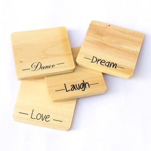 IVEI screen printed Love, Laugh, Dream, Dance Wooden coasters(set of 4) Coaster Set By i-value-every-idea