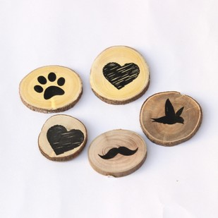 IVEI Circular Heart, Bird, paw, Moustache Wooden Magnets (set of 5) Accessories By i-value-every-idea
