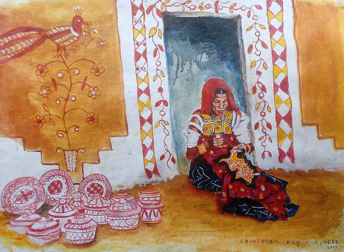 Life in designs by Sreenivasa Ram Makineedi, Expressionism Painting, Acrylic & Ink on Paper, Brown color