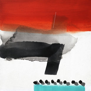 Landscape by Prabhinder Lall, Abstract Painting, Acrylic on Canvas, Gray color