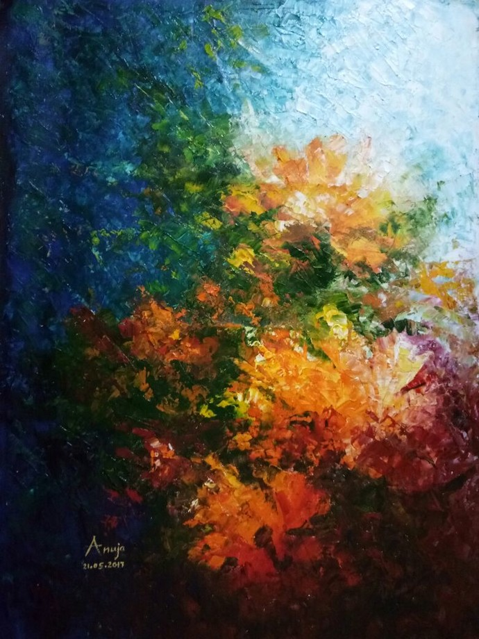 Invigorate by Anuja Saxena, Impressionism Painting, Oil on Canvas, Brown color