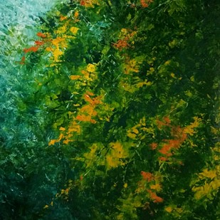 Placid by Anuja Saxena, Impressionism Painting, Oil on Canvas, Green color