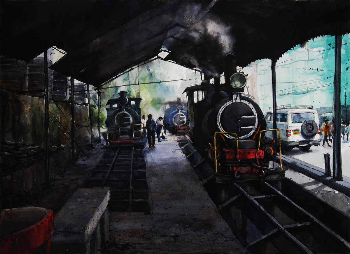 Memories-in-Darjeeling Toy Train 1 by Ranabir Saha, Impressionism Painting, Watercolor on Paper, Gray color