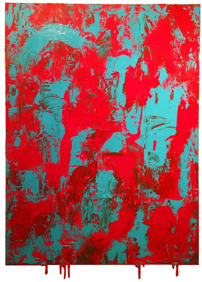 COMPASSION by Pranav Kaushal, Abstract Painting, Acrylic on Canvas, Red color