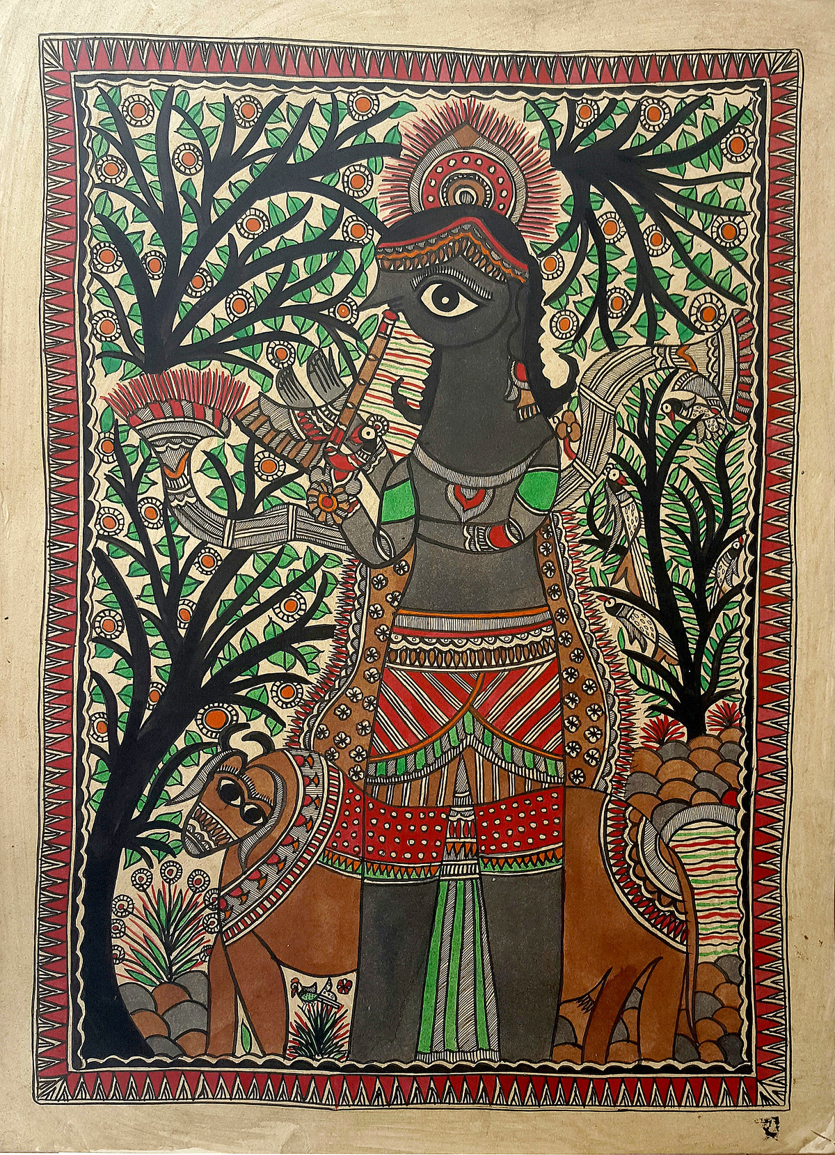 Krishna, The Shepherd by Chano Devi, Folk Painting, Natural colours on paper, Brown color