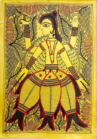 The Protector by Asha Devi, Folk Painting, Natural colours on paper, Brown color