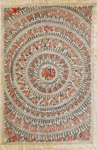 Motiram In The Jungle by Kailash Devi, Folk Painting, Natural colours on paper, Beige color