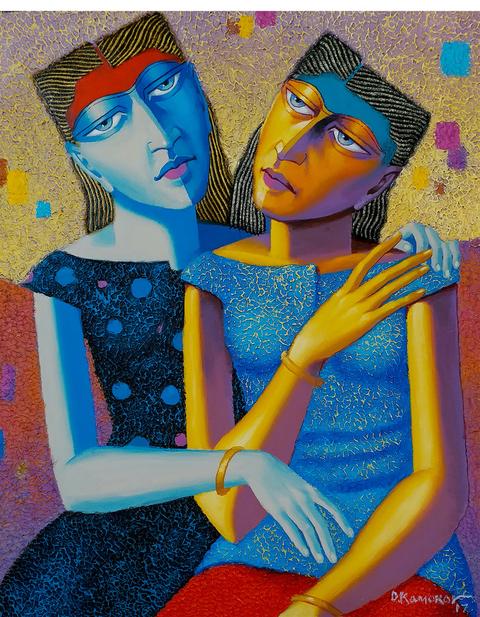 Friends by Dayanand Kamakar, Expressionism Painting, Oil & Acrylic on Canvas, Brown color
