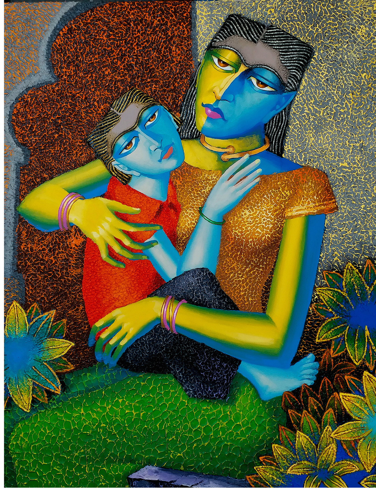Mother and Child -2 by Dayanand Kamakar, Expressionism Painting, Oil & Acrylic on Canvas, Green color