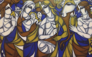 Untitled by A.R. Mahajan, Expressionism Painting, Acrylic on Canvas, Brown color
