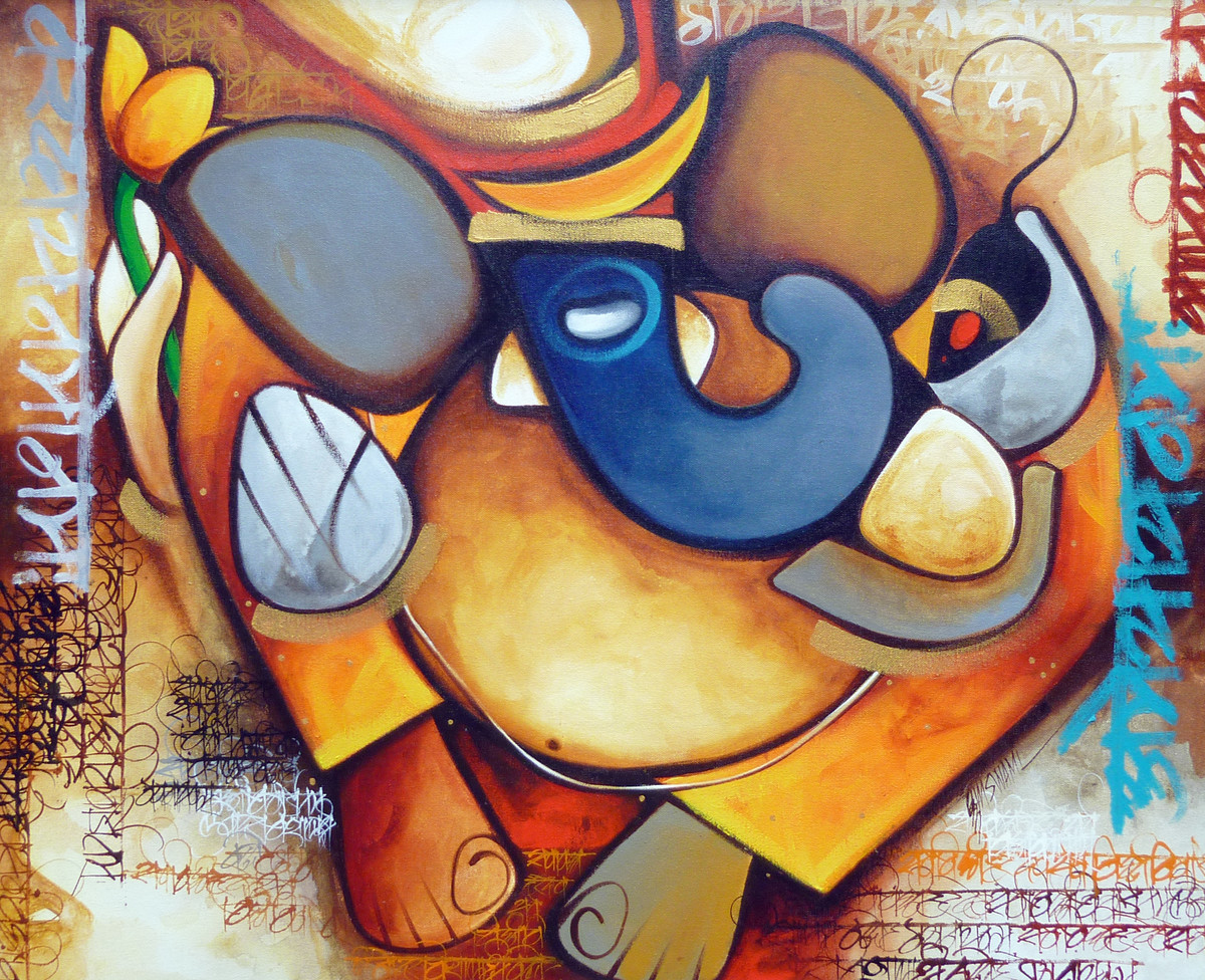 Ganesha by Om Swami, Traditional Painting, Acrylic on Canvas, Brown color