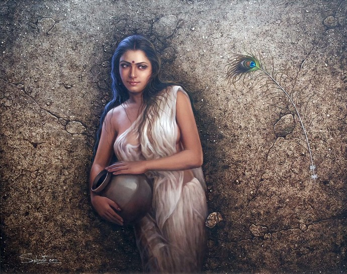 Untitled by Subrata Sen, Realism Painting, Oil on Canvas, Brown color