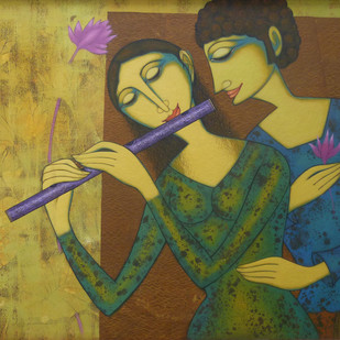 Untitled by Prakash Deshmukh, Art Deco Painting, Acrylic on Canvas, Green color