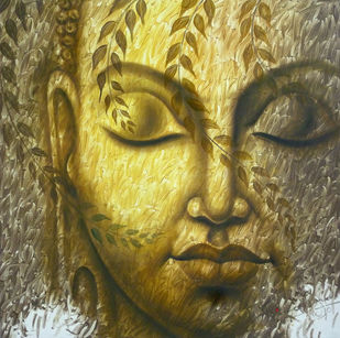 Buddha by prince chand, Expressionism Painting, Oil on Canvas, Brown color