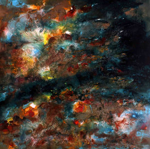 After the Storm by Suresh Pushpangathan, Abstract Painting, Acrylic on Canvas, Brown color