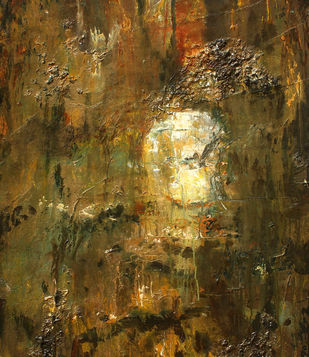 Celestial Visions by Suresh Pushpangathan, Abstract Painting, Acrylic on Canvas, Brown color