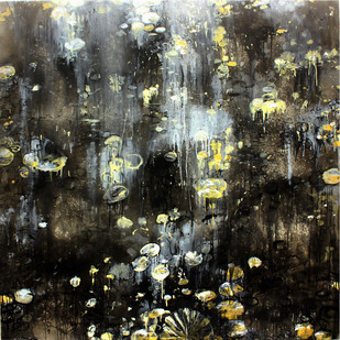 Dribbling Textures by Suresh Pushpangathan, Abstract Painting, Acrylic on Canvas, Gray color