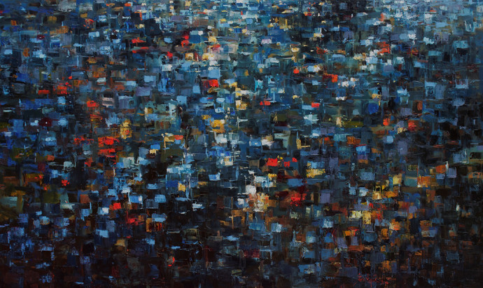 Structured Dimensions by Suresh Pushpangathan, Abstract Painting, Acrylic on Canvas, Blue color