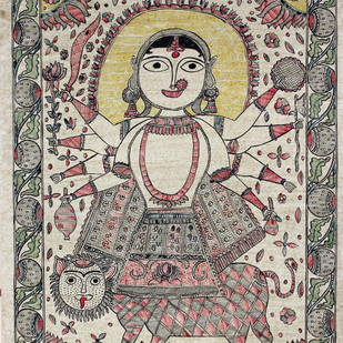 Maa Durga by Sanjeev Kumar Jha, Folk Painting, Natural colours on paper, Brown color
