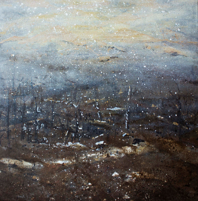 Visions of Hope by Suresh Pushpangathan, Abstract Painting, Acrylic on Canvas, Gray color