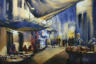 Footpath sellers by Sunil Linus De, Impressionism Painting, Watercolor on Paper, Brown color
