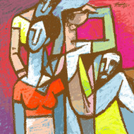 pairs by Gujjarappa B G, Expressionism Painting, Digital Print on Canvas, Brown color