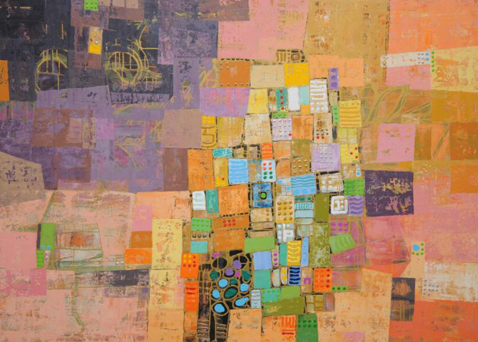 City Series 01 by S A Vimalanathan, Geometrical Painting, Acrylic on Canvas, Brown color