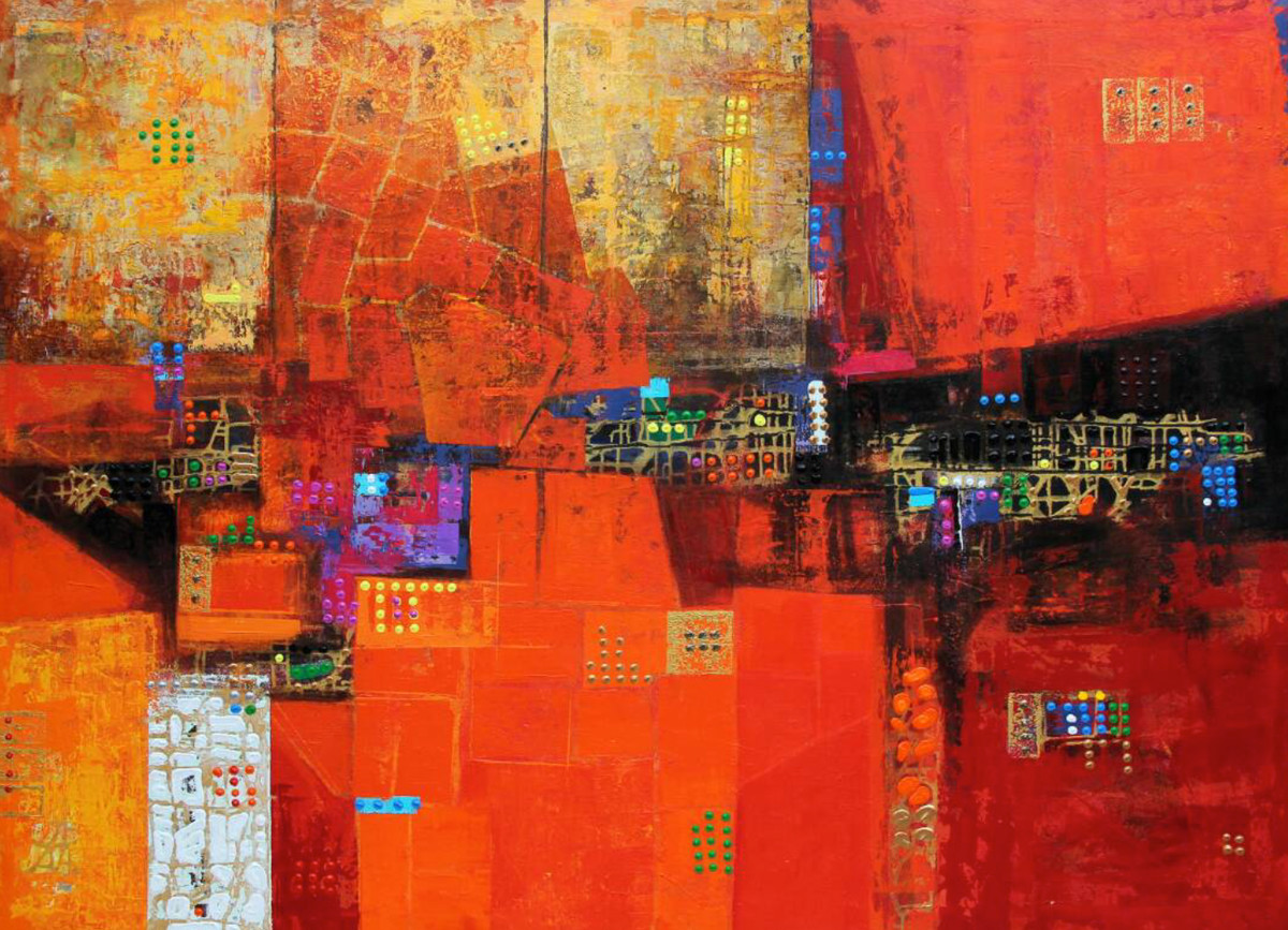 City Series 02 by S A Vimalanathan, Geometrical Painting, Acrylic on Canvas, Red color