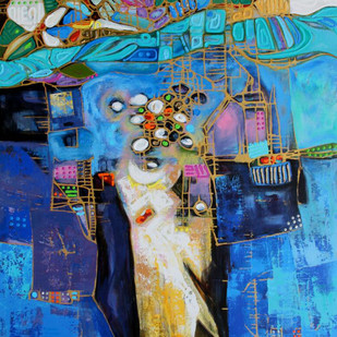 City Series 03 by S A Vimalanathan, Geometrical Painting, Acrylic on Canvas, Blue color