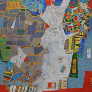 City Series 05 by S A Vimalanathan, Expressionism Painting, Acrylic on Canvas, Brown color