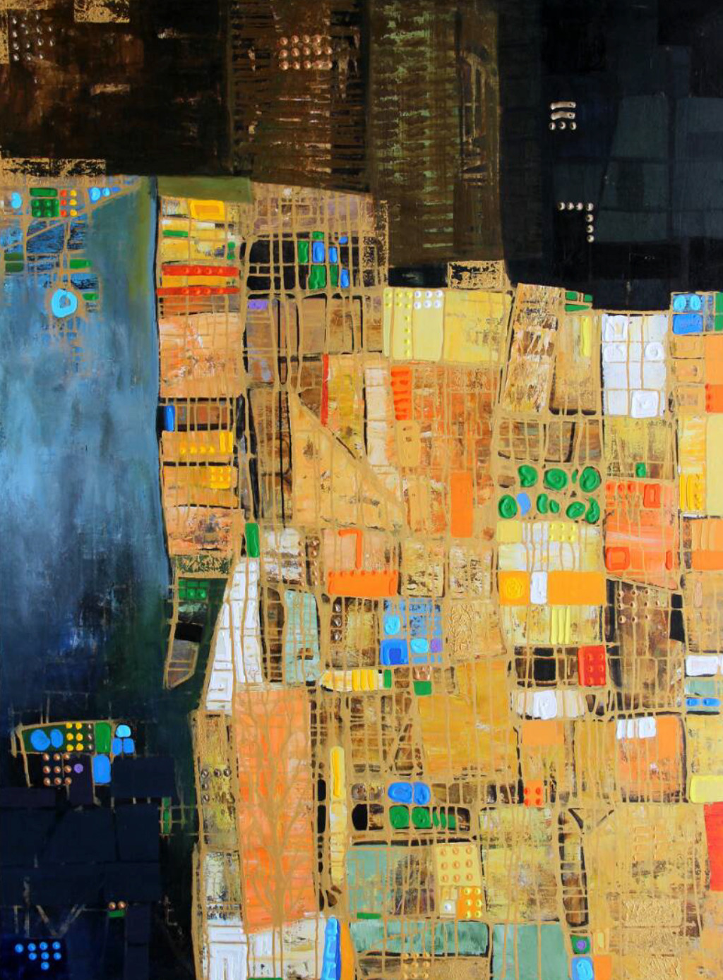 City Series 07 by S A Vimalanathan, Geometrical Painting, Acrylic on Canvas, Beige color