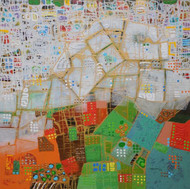 City Series 10 by S A Vimalanathan, Geometrical Painting, Acrylic on Canvas, Beige color