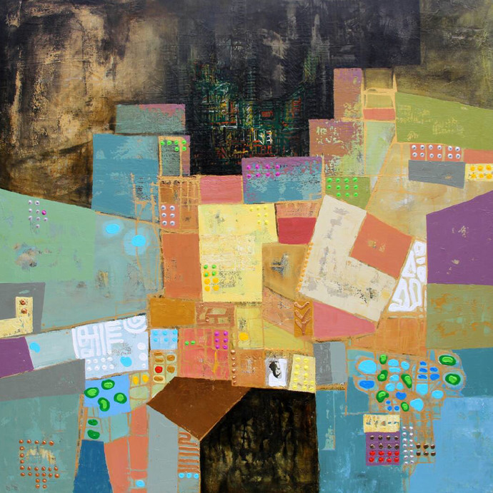 City Series 12 by S A Vimalanathan, Geometrical Painting, Acrylic on Canvas, Brown color